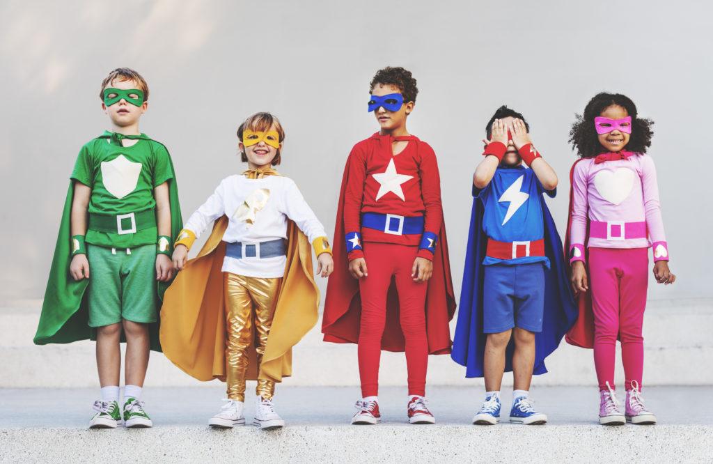 5 children dressed as super heros to represent Sutton Virtual School children