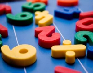 Picture of colourful numbers on table