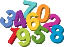 Picture of several colourful numbers